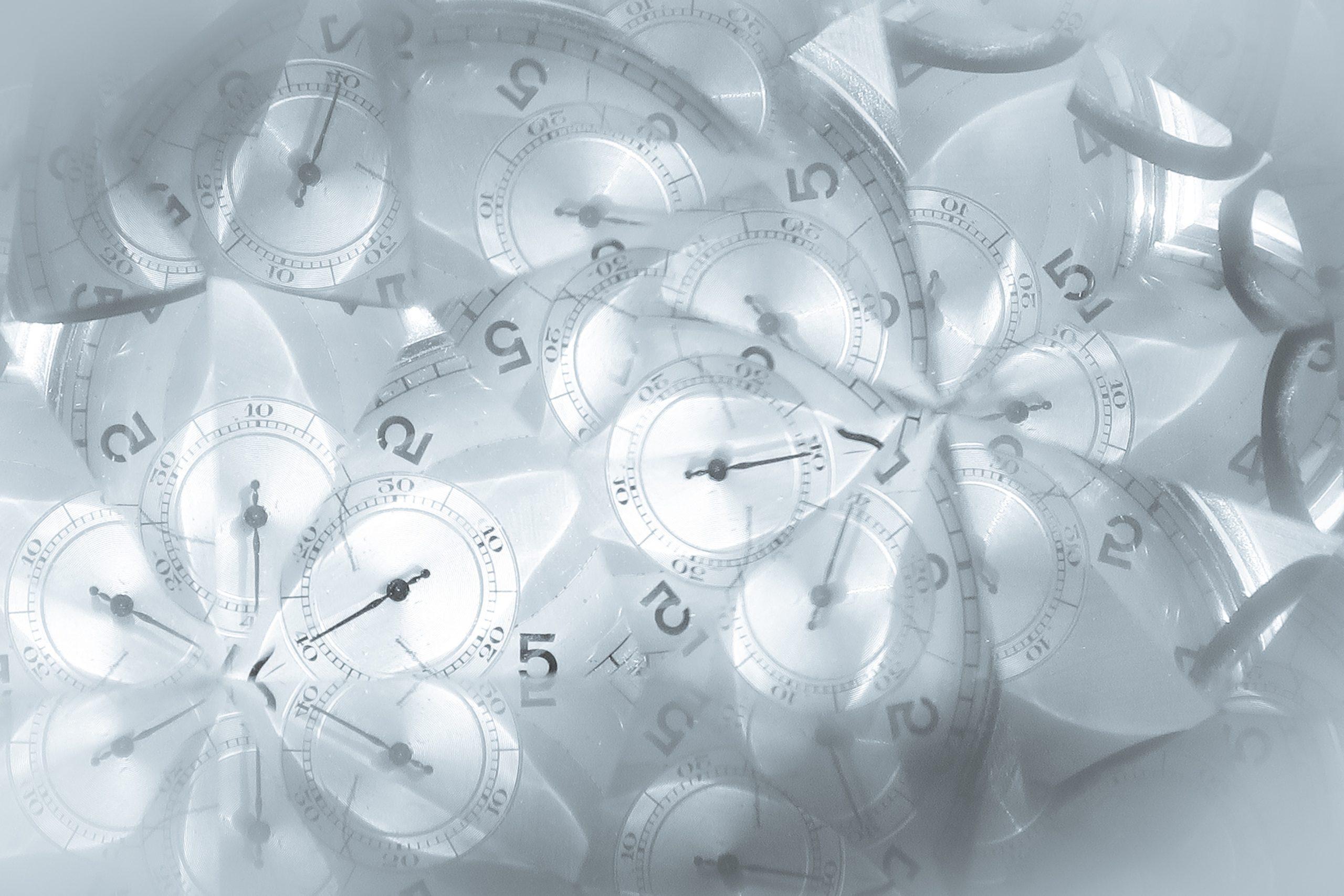 white and gray analog clock